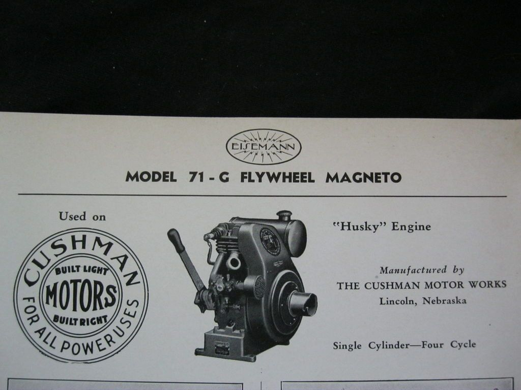 71 G CUSHMAN HUSKY ENGINE FLYWHEEL MAGNETO PARTS LIST & DIAGRAM