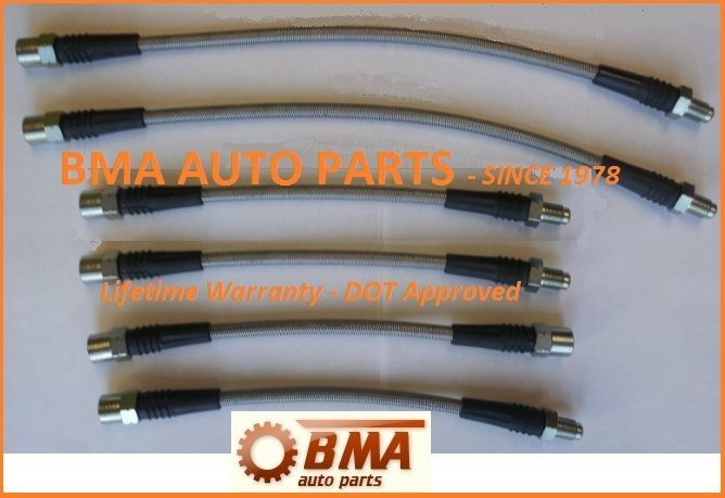 DOT 4 APPROVED BMW E30 Stainless Steel Brake Line Kit 1   6 Piece Kit