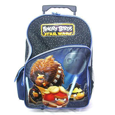 Birds Star Wars Rolling Trolley Blue Backpack Rucksack 16 with wheels