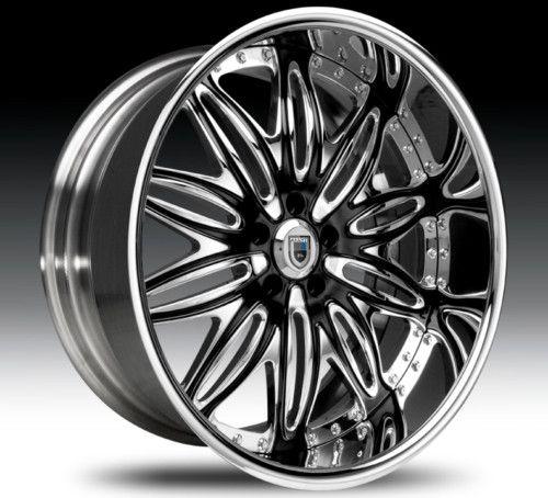 24 asanti AF151 Black Chrome Wheels Rims 2 Piece Tone