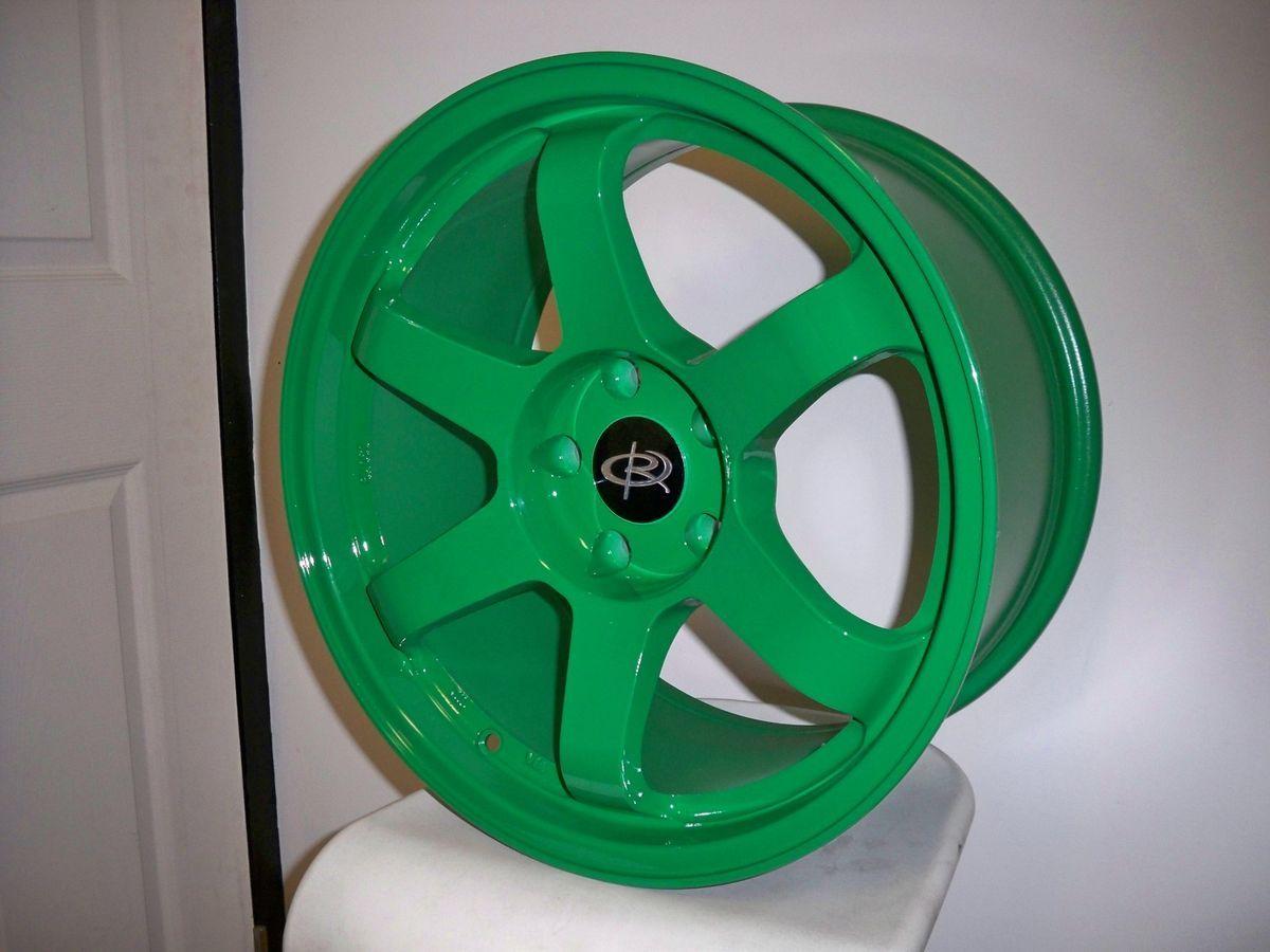 17 Rota Grid Green Rims Wheels 17x9 25 5x114 3 EVO9 evo8 STI