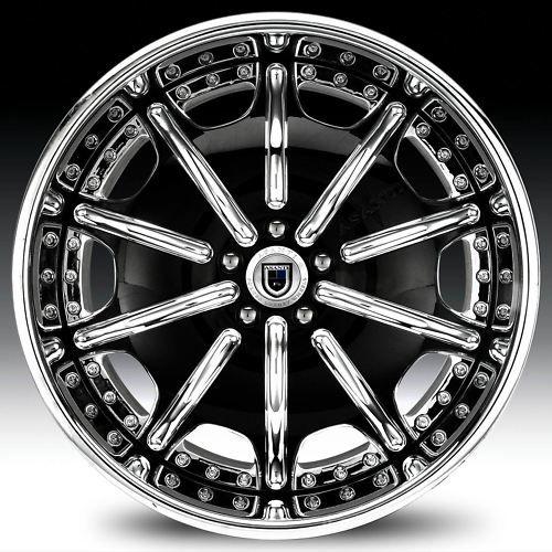 22 asanti AF204 Black Chrome Wheels Rims 3 Piece